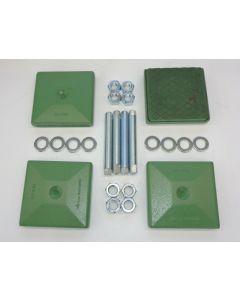 4 Maschinenfüße gebr. 140x140, M20x150 grün Fräsmaschine Drehmaschine