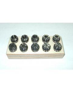Spannzangensatz (Rl. 0,008mm) ER16 1-10 Holzsockel (10 Stück)