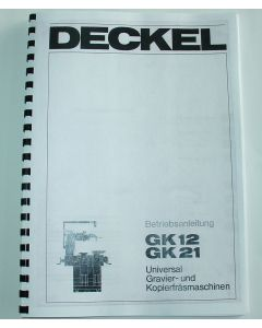 Betriebsanleitung Deckel GK12 / GK21 ab Bj.75