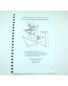 Betriebsanleitung FP1 Bj. 67-77 für Deckel Fräsmaschine