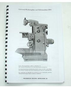 Betriebsanleitung Deckel Fräsmaschine FP2, Bj.67- 75