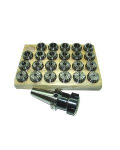 Spannzangenfutter SK40 DIN69871 ER40 (UM Schlüssel) Satz 4-26 RI max 8µm Holz