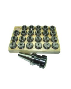 Spannzangenfutter SK40 DIN69871 ER40 (UM Schlüssel) Satz 4-26 RI max 15µm Holz