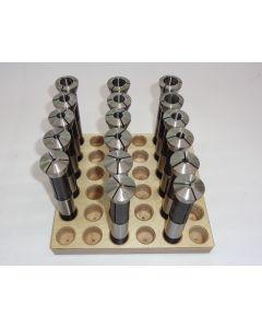 Spannzangensatz 355E D1,5-17,5 NEU 1mm steigend, Holzsockel, Deckel Fräsmaschine