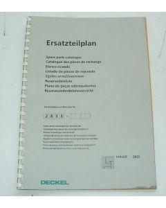 Ersatzteilplan Deckel Fräsmaschine FP4-60T 2833