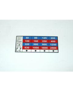 Schild für Drehzahlgetriebe Vertikal neu für Macmon 100  Fräsmaschine