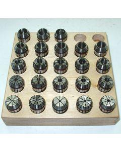 Spannzangensatz (Rl. 0,008mm) ER16 1-12 Holzsockel (23 Stück)