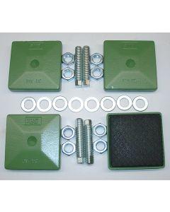 4 Maschinenfüße 123x123, M20x100 NEU grün Fräsmaschine / Drehmaschine