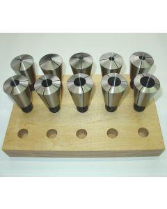 Spannzangensatz 574E D4 bis D25 (10 Stück), mit Holzsockel
