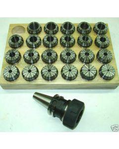Spannzangenfutter SK30 DIN69871 + ER16 - ER40 Zangensatz, Holzsockel