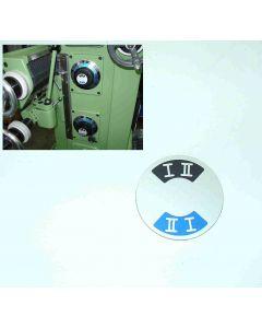 Schild für Getriebestufe I II neu, Deckel FP1 Fräsmaschine