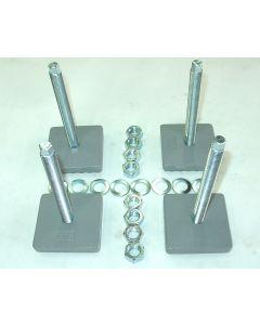 4 Maschinenfüße lose verbunden 85x85,M16x150 grau NEU Fräsmaschine/ Drehmaschine