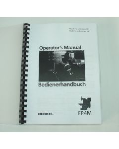 Bedienerhandbuch Deckel Fräsmaschine FP4 M / MK 2203, ab Bj.86