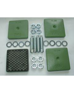 4 Maschinenfüße 120x120, M20x100 gebr. grün Fräsmaschine / Drehmaschine