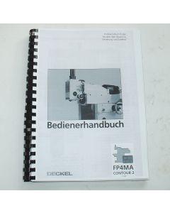 Bedienerhandbuch Deckel Fräsmaschine FP4MA 2204 Contour 2 ab Bj.88