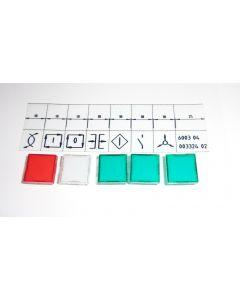 5x Abdeckkappen, Schrifteinlage, Handsteuerleiste UVV für Deckel NC Fräsmaschine