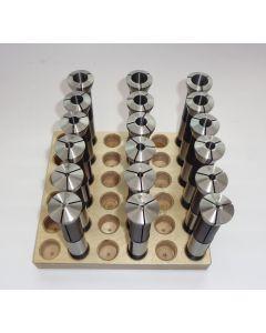 Spannzangensatz 355E D1-18 NEU 1mm steigend, Holzsockel, Deckel Fräsmaschine