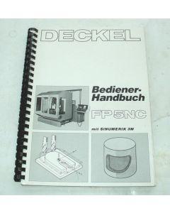 Bedienerhandbuch Deckel Fräsmaschine FP5NC 2806  Steuerung Sinumerik