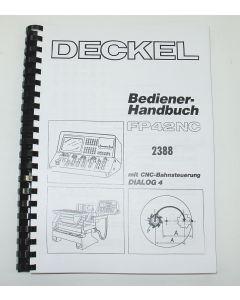 Bedienerhandbuch Deckel Fräsmaschine FP42 NC 2388 D4
