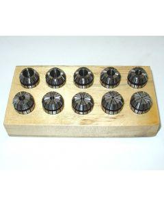 Spannzangensatz ER16  D1-10mm auf Holzsockel