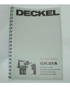 Betriebsanleitung Deckel GK21 A
