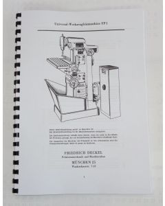 Betriebsanleitung FP1 Bj. 60-65 für Deckel Fräsmaschine