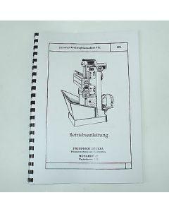 Betriebsanleitung FP1 Bj. 40-50 für Deckel Fräsmaschine